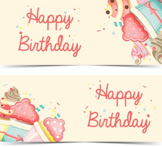 Cupcake with happy birthday banner vector 02 - WeLoveSoLo