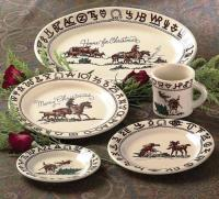 Cowboy Christmas Western Dinnerware 17 Pc Set by True West