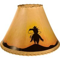 Cowboy Riding Silhouette Western Painted Rawhide Leather ...