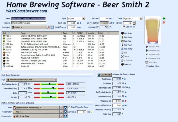 Beer Smith 2 首页brew软件