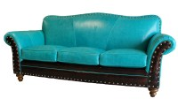 Albuquerque Turquoise Leather Sofa Western Sofas and ...