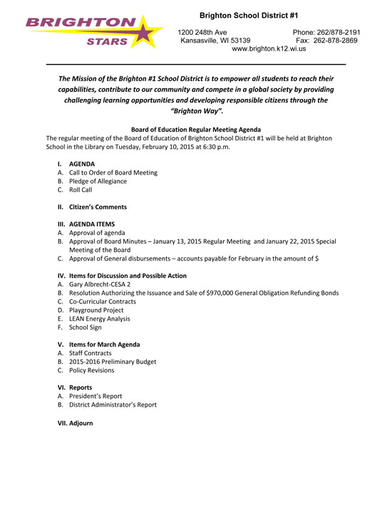 Sponsored post Brighton School Board Feb 10 meeting agenda \u2013 West