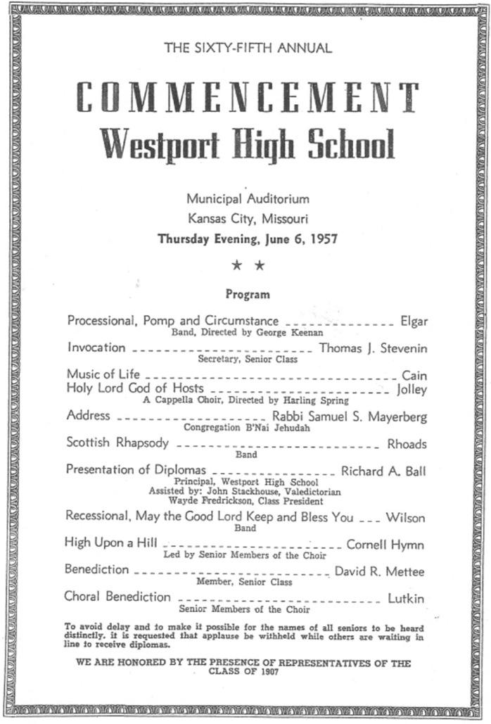 Westport Class of 57 Graduation Program