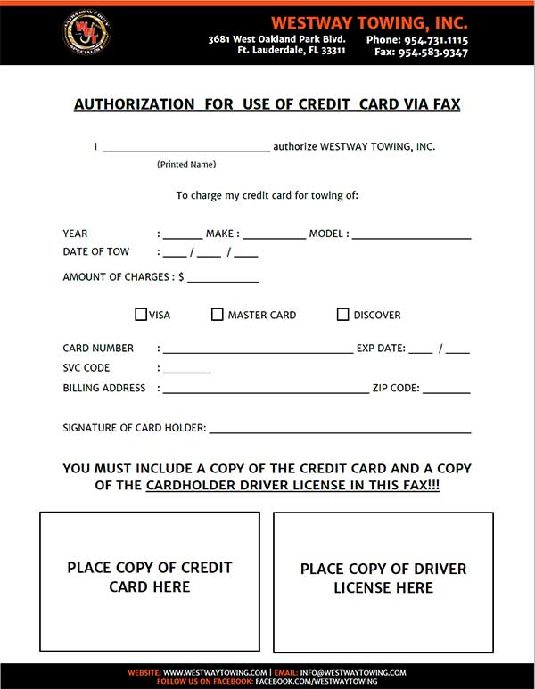 Customer Forms \u2013 West Way Towing - authorization to use credit card