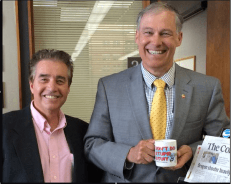 Even Governor Inslee had to buy a Chinese coffee mug from Lou. Too bad Inslee is the king of doing stupid stuff