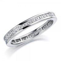 Platinum Princess Cut Diamond Set Wedding Ring