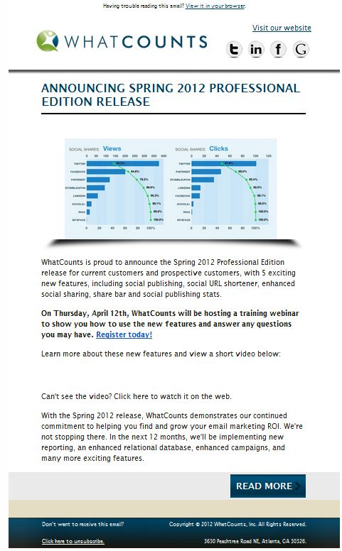 Product Update Sample Email WhatCounts - Enterprise Email