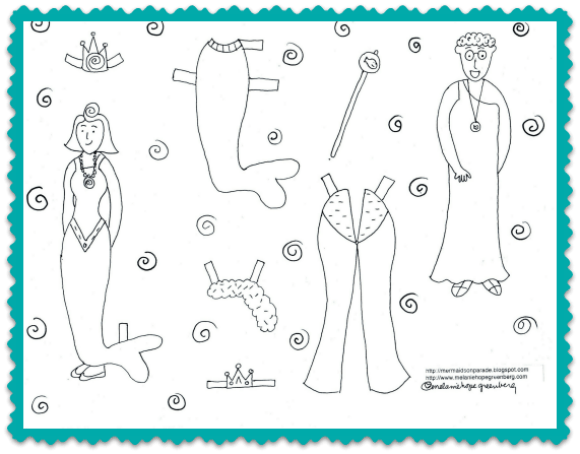 Printable mermaid paper dolls to color by Melanie Hope Greenberg.