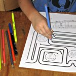 Subway Train Maze and Coloring Page