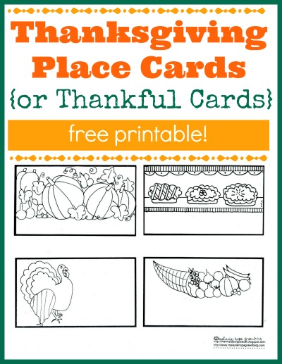 Free printable Thanksgiving place cards for kids to color