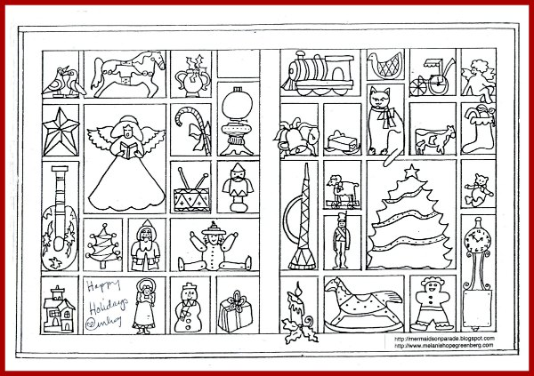christmas coloring page by  melanie hope greenberg