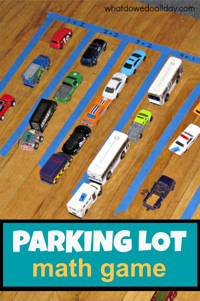 Math activity that uses toy cars and practices addition.