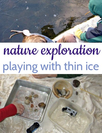 Playing with ice is a fun indoor winter activty with kids