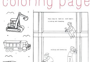 Construction coloring page to print and color