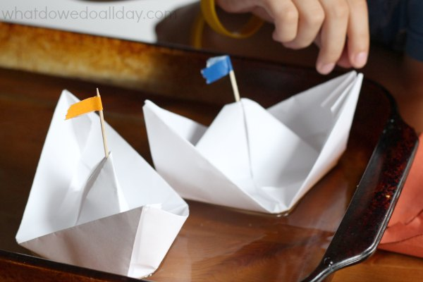 Floating paper boats