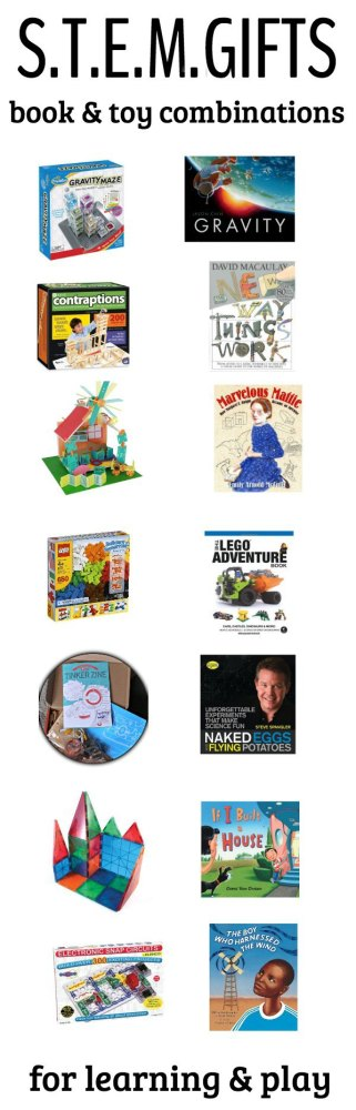 STEM toys and books for kids.