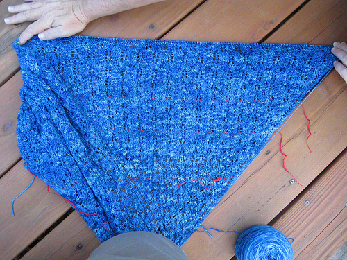 Step 4 of the Pangea shawl as knit by Chris