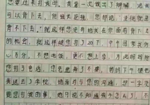 Primary Student\u0027s Moving Essay on Teacher\u0027s Abuse Goes Viral on