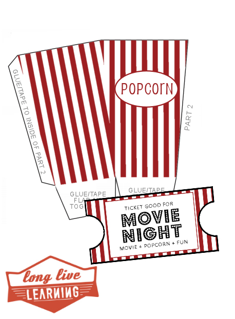 12 Free DIY Popcorn Box Printables for a Better Family Movie Night