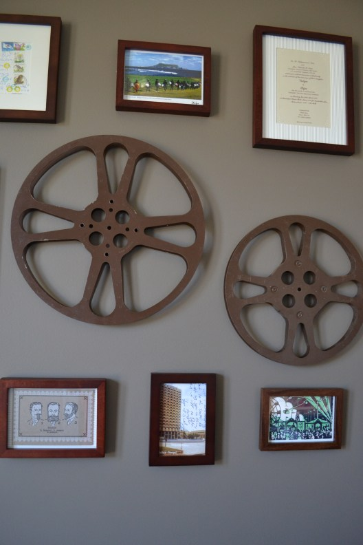 movie reels decor, photo gallery wall