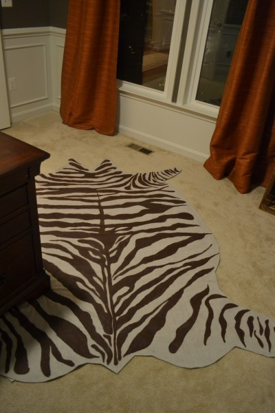 Diy rug from drop cloth in a zebra hide pattern - Faux animal skin rugs ...