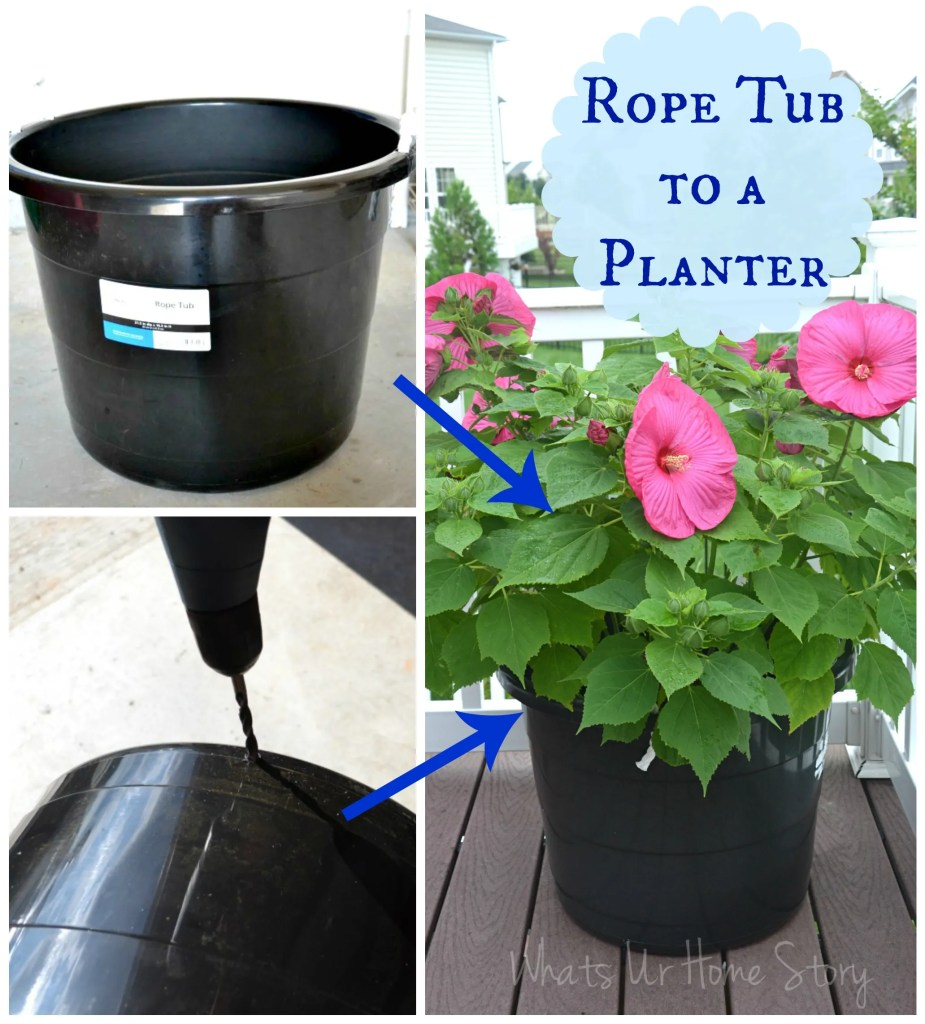 DIY-rope-tub-planter, turn a rope tub into a planter
