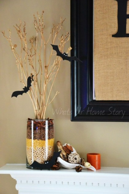 Whats Ur Home Story: Fall centerpiece, layered beans vase, Simple Fall Arrangement