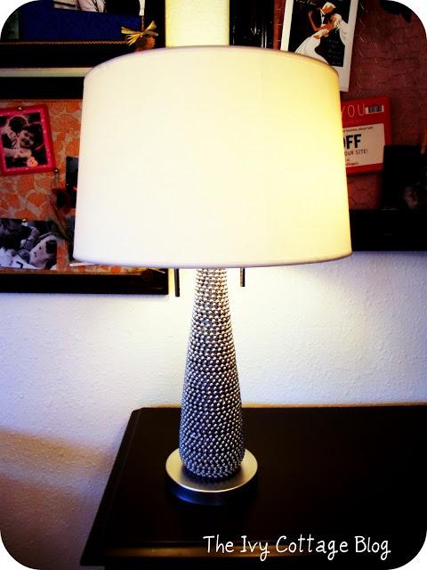hot glued beads lamp