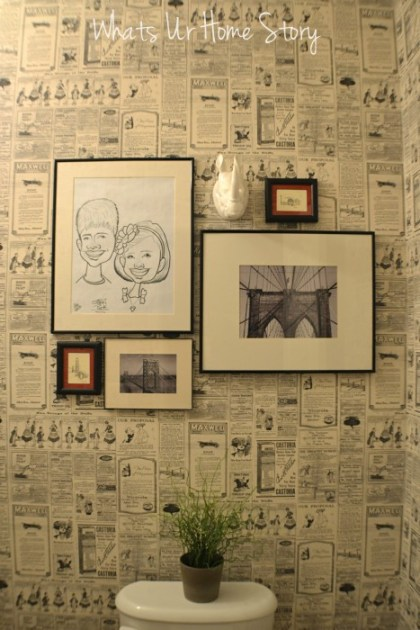 Whats Ur Home Story: Wall paper powder room, newspaper wall paper, wall paper direct , bamboo octagon mirror, diy powder room makeover