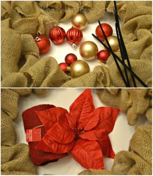 Whats Ur Home Story: Christmas Burlap Wreath diy, DIY burlap wreath, how to make a Christmas burlap wreath