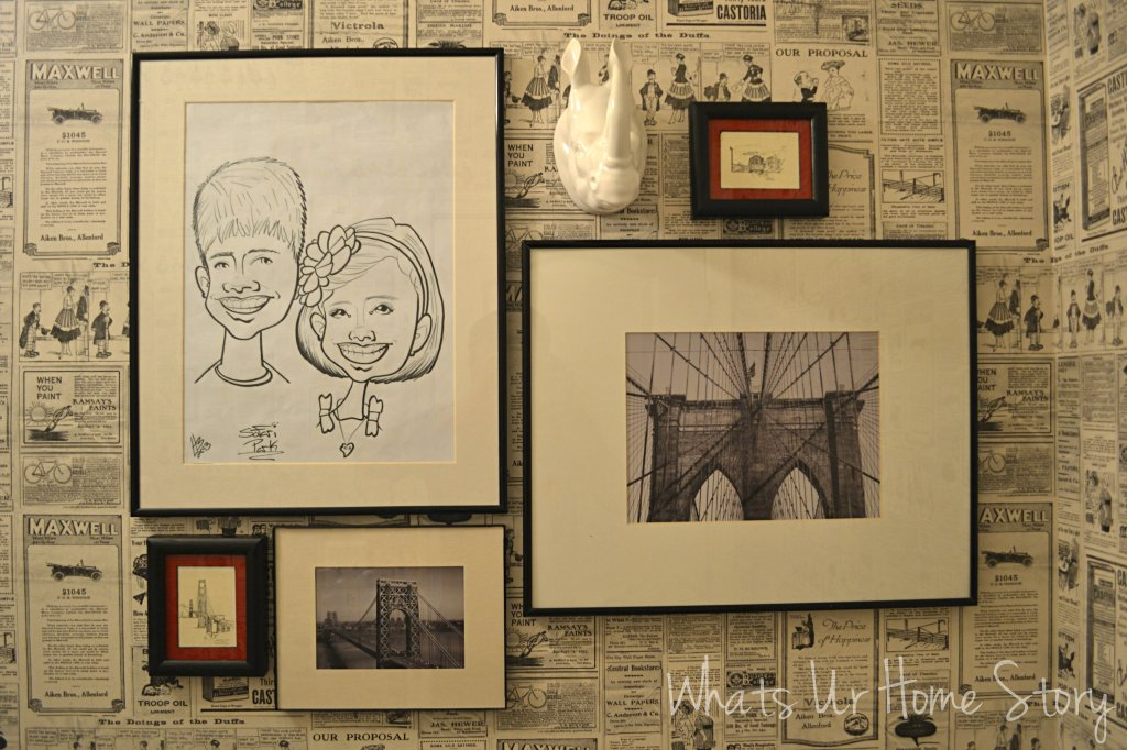 How to hang wallpaper, vintage newspaper wallpaper, wallpaper powder room, paste on the wall wallpaper, black and white gallery wall