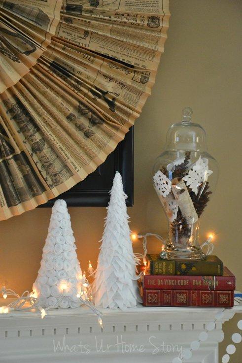 Whats Ur Home Story: Wintery  Mantel Decorations, Simple Winter Mantel, Rustic Winter Mantel, felt winter trees, felt Christmas trees