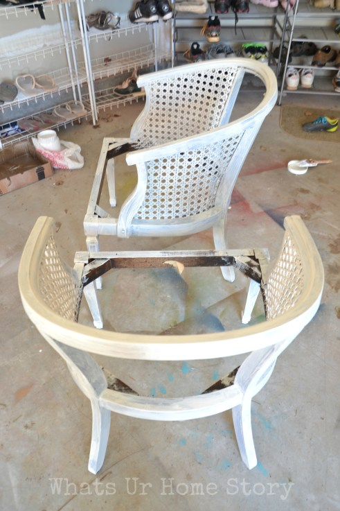 cane chair makeover, priming a cane chair, how to paint a cane chair