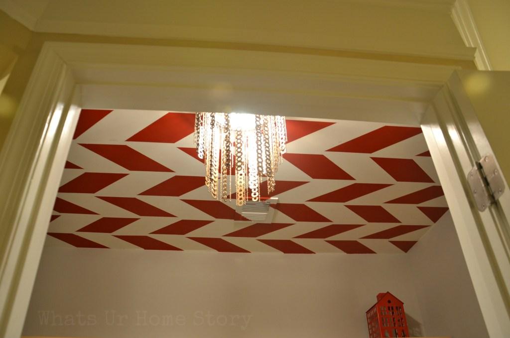 Herringbone Ceiling, flat washer chandelier