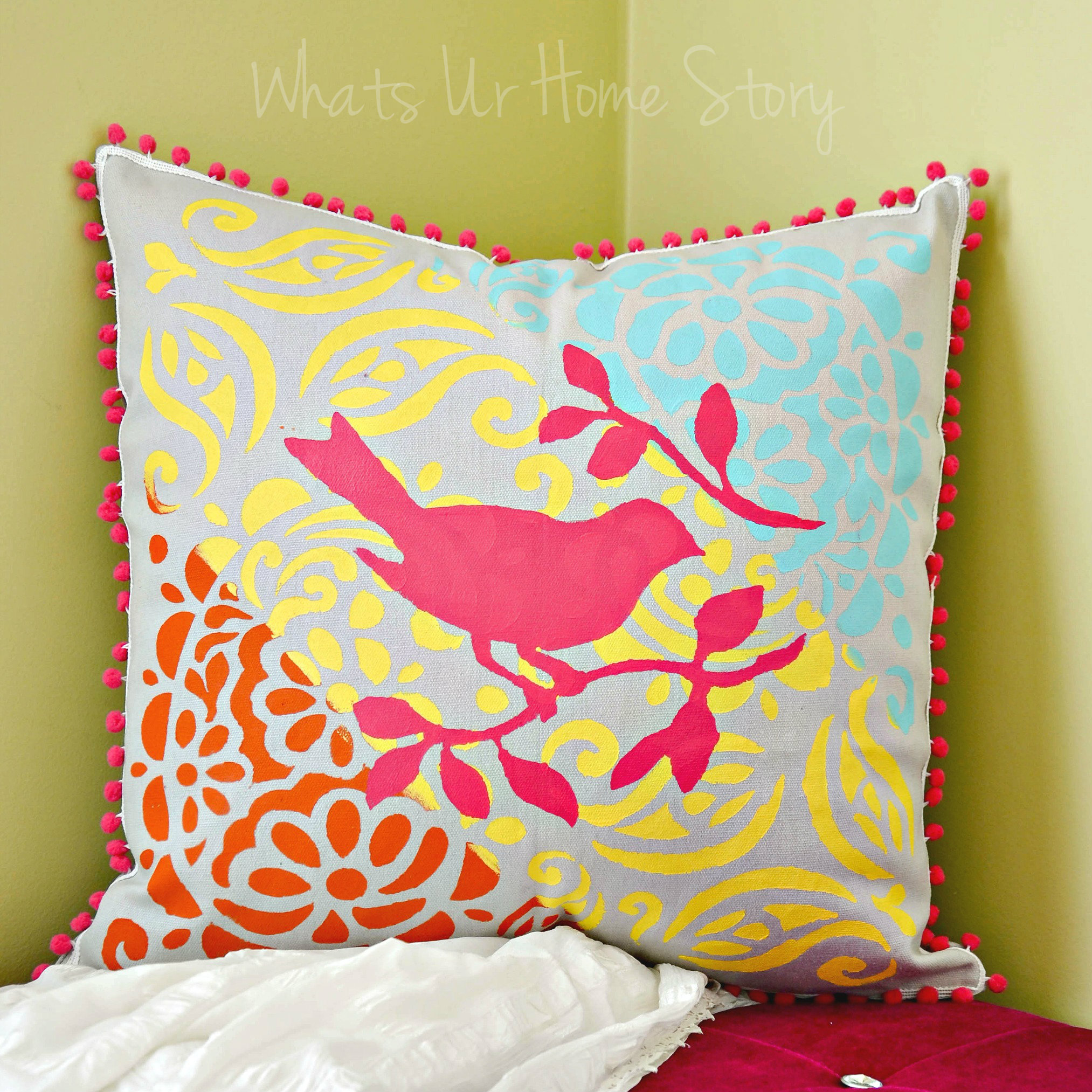 Multi Color Layered Stenciled Pillow Whats Ur Home Story