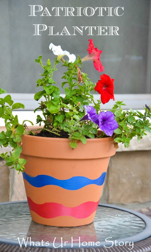 Update a simple clay pot with a painted wave planter using Frog tape , Patriotic Planter #patrioticdecor #july4th