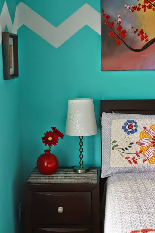 turquoise wall color, Turquoise and Red Bedroom