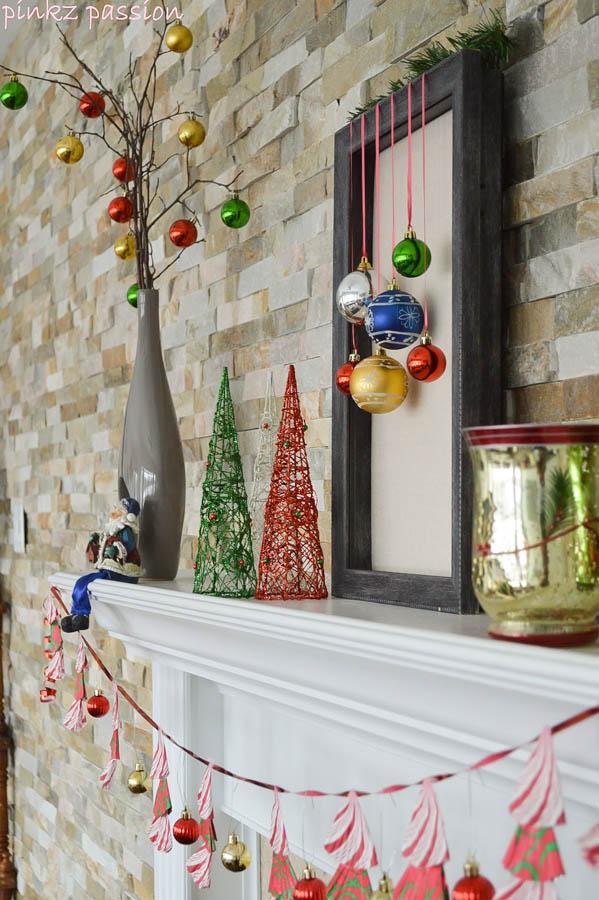 Colorful Holiday Mantel
