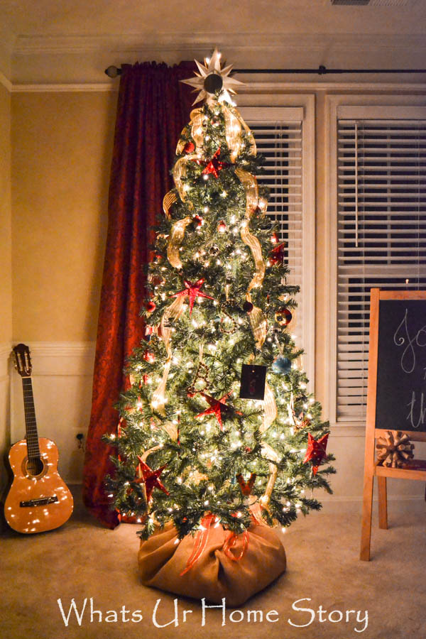 Star Themed Christmas Tree with a Burlap Covered Faux Root Ball Tree Skirt