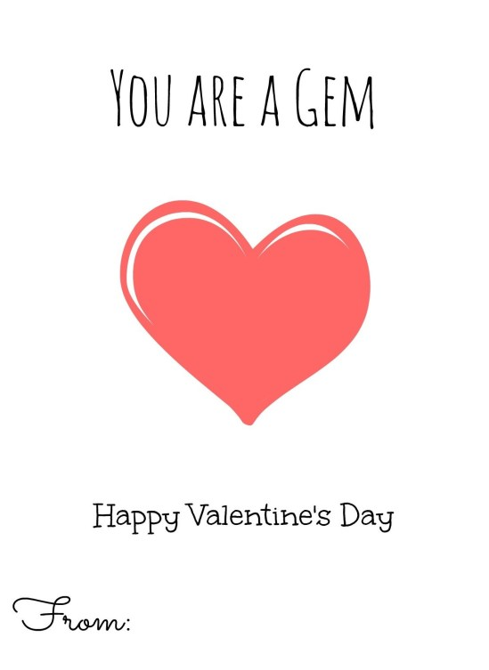 you are a gem valentine's card printable yellow heart