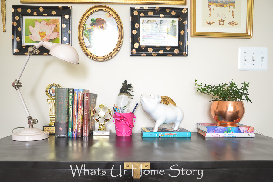 eclectic girls room vignette
