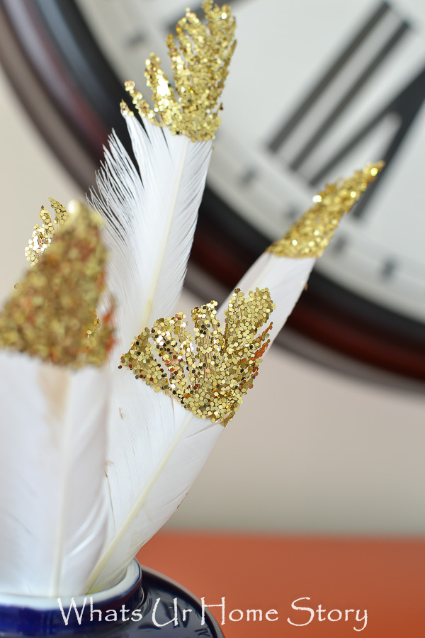 Making these Glitter Dipped Feathers are so easy