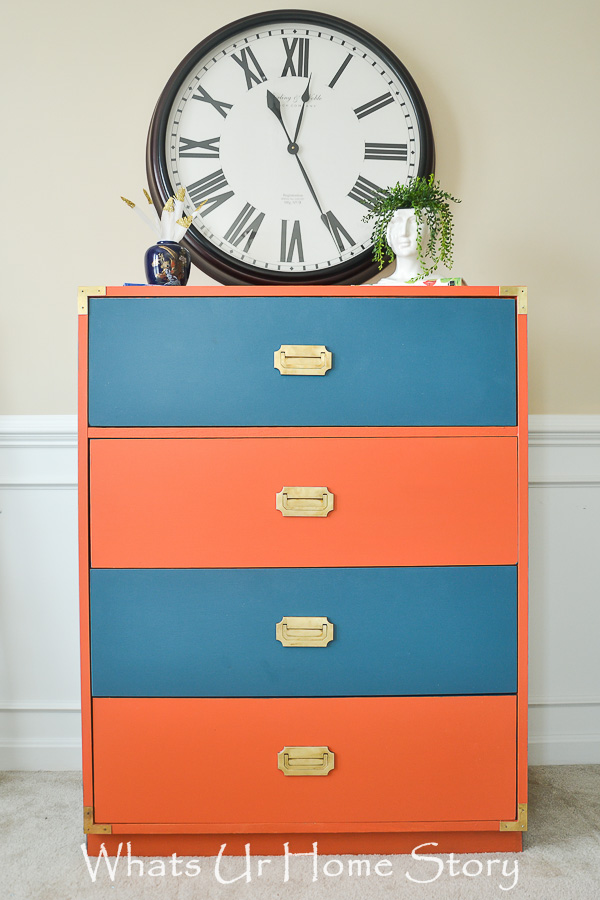 campaign dresser makeover in coral and navy