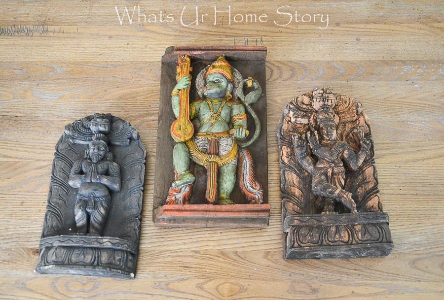 reclaimed wood hindu gods carvings