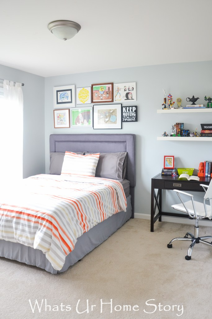 Tween Boy Bedroom in a cool color pallete of blues and grays -Teen Boy Bedroom ideas; Bedroom design for tween boys