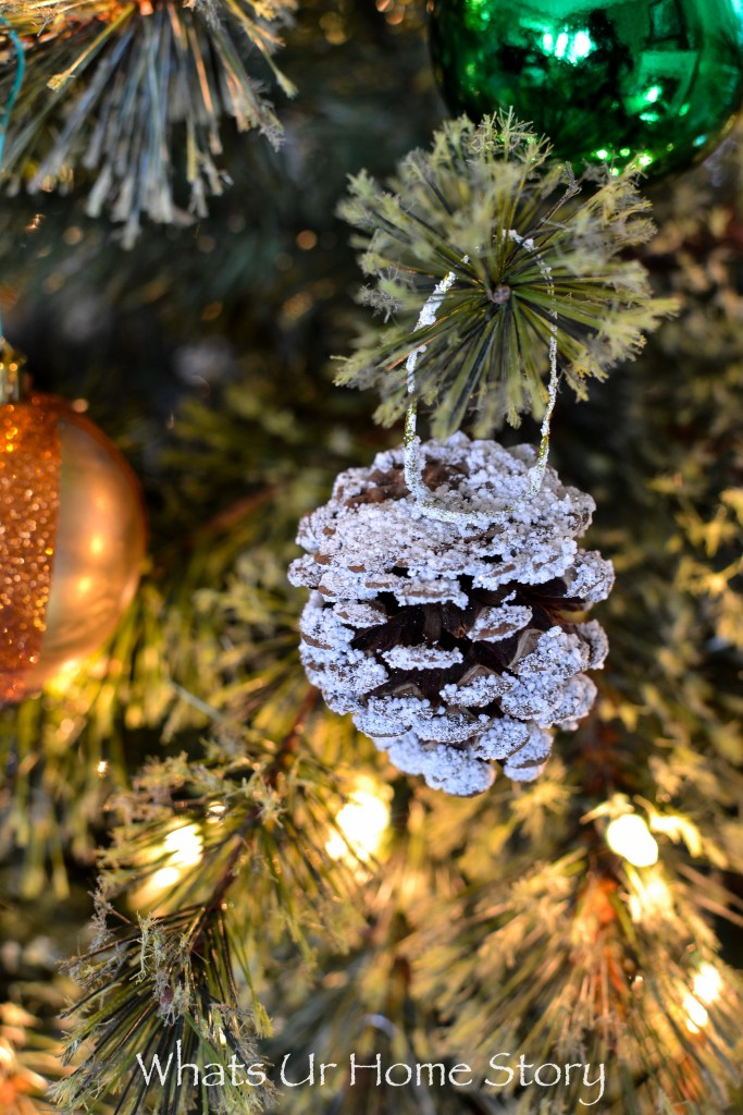 Frosted Pine Cone Christmas Tree Ornament-0768
