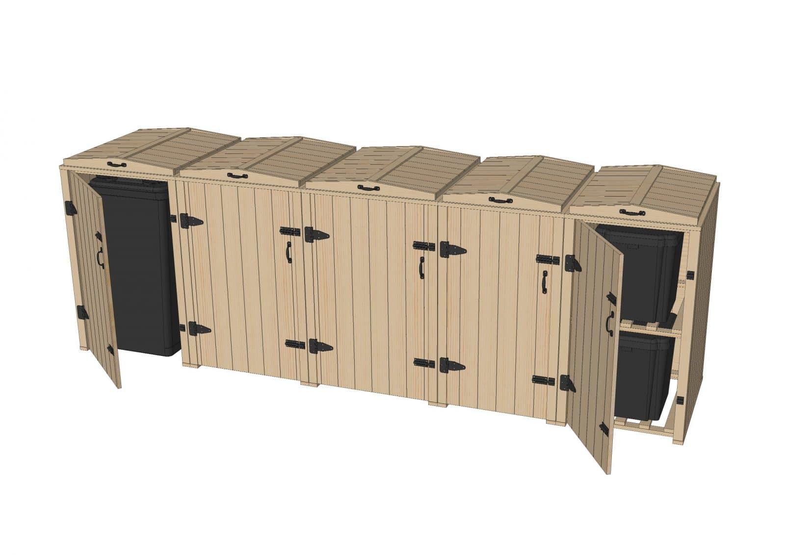 Bellus Double Wheelie Bin 6 Recycle Box Storage