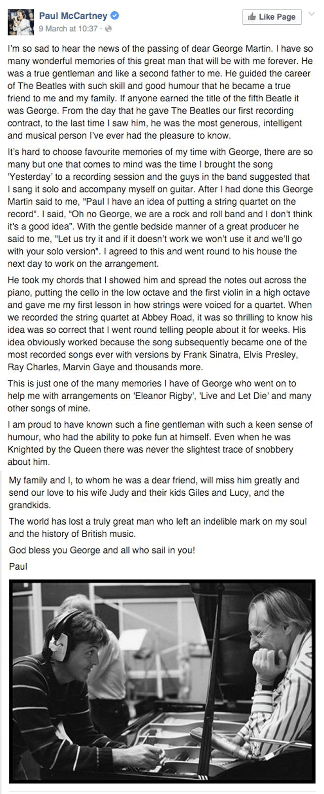 Paul McCartney Facebook Tribute