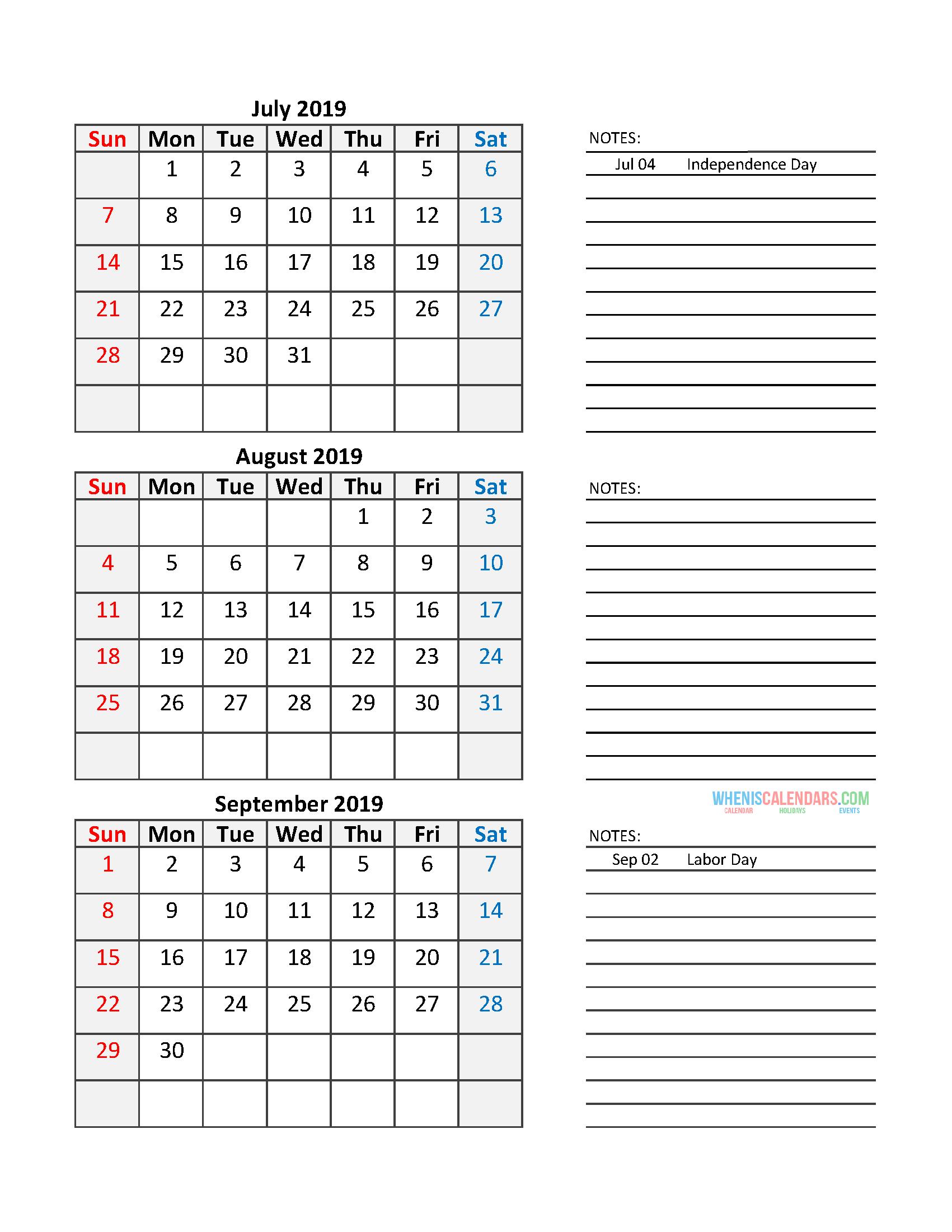 free quarterly calendar 2019