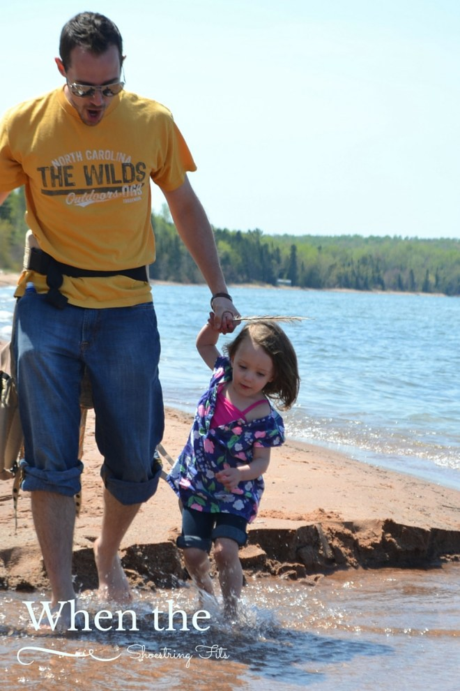 That little creek looked so big to our toddler. But Daddy was there to help!